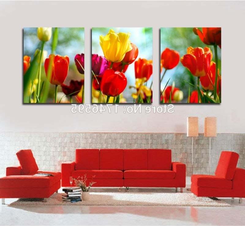 Big 3Pcs Home Wall Decor Abstract Red Yellow Tulip Canvas Wall Art With Regard To Latest Red And Yellow Wall Art (View 1 of 15)