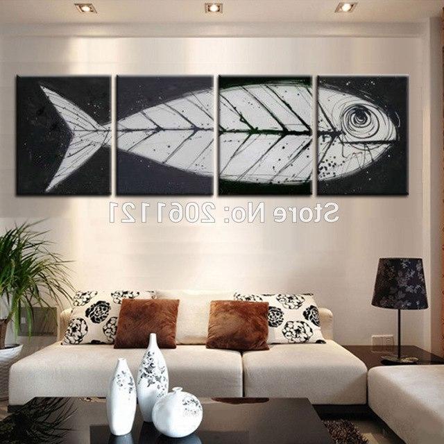 Big Gray Black Pop Art Modern Wall Art Fish Bone Canvas Painting With Regard To Most Recent Fish Bone Wall Art (View 5 of 15)