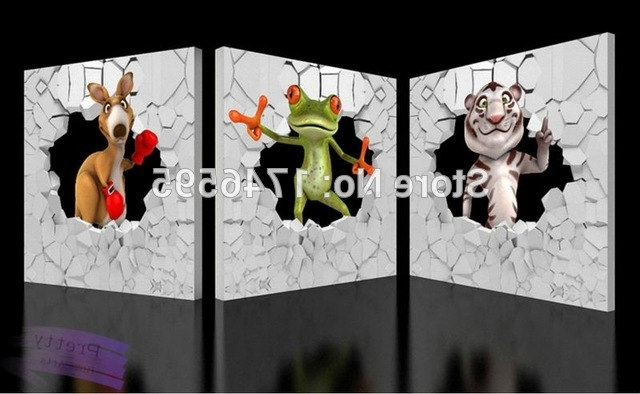 Big Size 3Pcs Modern Kids Room Wall Decor Animals 3D Wall Art With Regard To 2018 Animals 3D Wall Art (View 6 of 15)