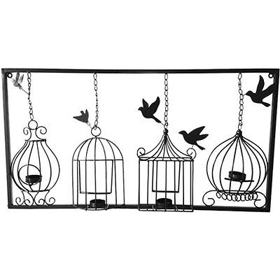 Birdcage Tea Light Wall Art Metal Wall Hanging Candle Holder Black Throughout Newest Metal Birdcage Wall Art (View 3 of 15)