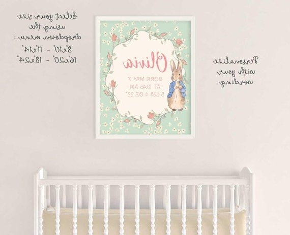 Birth Announcement Peter Rabbit, Beatrix Potter, Nursery Wall Decor Pertaining To Famous Peter Rabbit Wall Art (View 4 of 15)