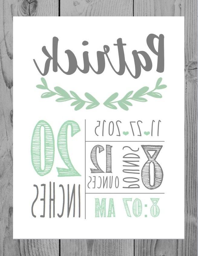 Birth Announcement Wall Art Decor Baby Boy Gift Personalized Baby Intended For Trendy Personalized Nursery Wall Art (View 3 of 15)