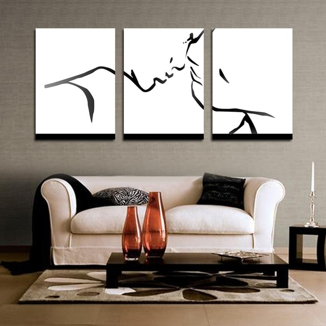 Black Abstract Wall Art Lovers Painting Simple Kiss Pattern Oil Regarding Fashionable Abstract Wall Art For Living Room (View 4 of 15)