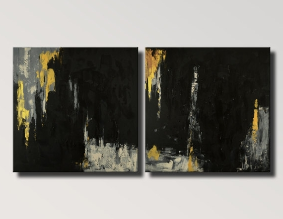 Black And Gold Abstract Wall Art Inside 2018 Extra Large Abstract Painting Black Gold Gray Set Of Two Original (View 5 of 15)