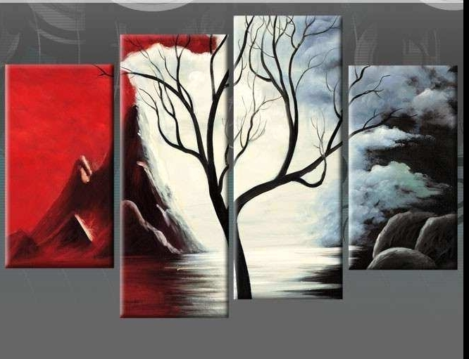 Black And Red Wall Art Unique New Beginnings Red Black White Tree With Current Black White And Red Wall Art (View 13 of 15)