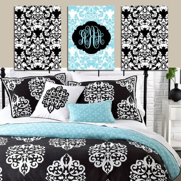 Black And White Damask Wall Art Intended For Widely Used Damask Wall Art Monogram Artwork Aqua Blue Black White Girl Bedroom (View 2 of 15)
