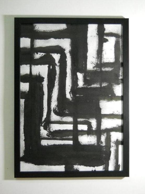 Black And White Manjuzaka Wall Art In Favorite Black And White Abstract Wall Art (View 7 of 15)