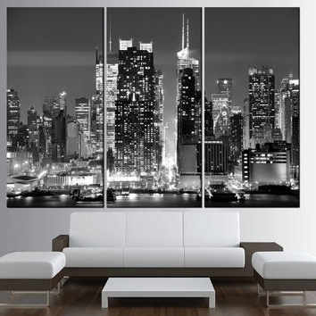 Black And White New York Canvas Wall Art Regarding Newest Shop New York Skyline Wall Art On Wanelo (View 9 of 15)