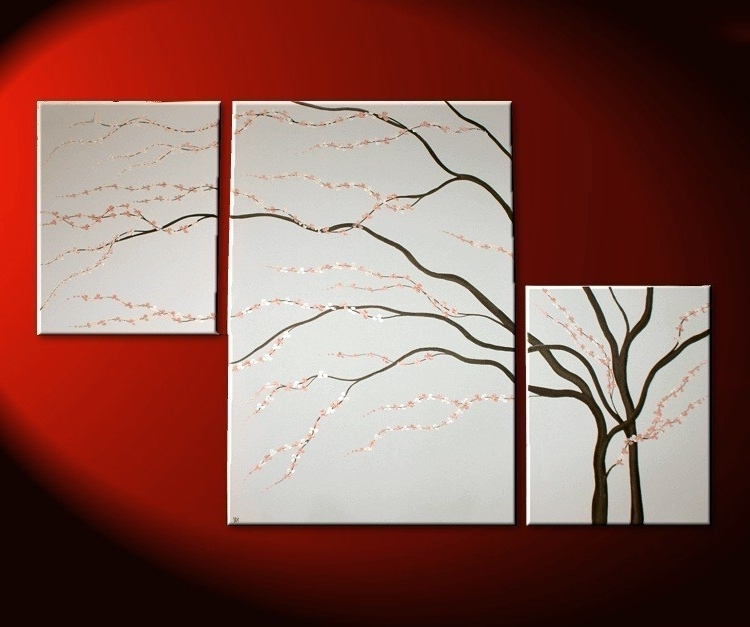 Black And White Painting Wall Art Cherry Blossom Art Elegant Modern Intended For Most Popular Modern Abstract Huge Wall Art (View 9 of 15)
