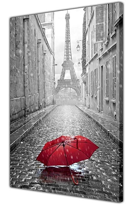 Black And White Paris Eiffel Tower Photo With Red Umbrella Canvas Inside Most Up To Date Black And White Paris Wall Art (View 8 of 15)
