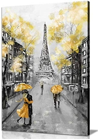 Black And White Paris Wall Art Regarding Preferred Amazon: Yellow Black & White Paris Painting Canvas Wall Art (View 15 of 15)