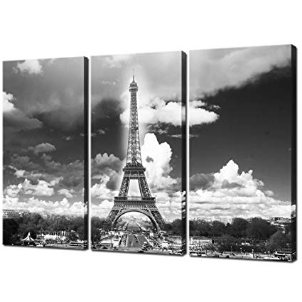 Black And White Paris Wall Art Regarding Well Known Amazon: Sea Charm – Modern Canvas Wall Art – Black And White (View 5 of 15)