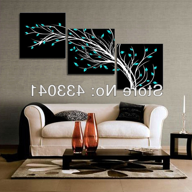 Black And White Wall Art Sets For 2018 2013 New Hand Painted 3 Piece Set Canvas Modern Wall Deco Oil (View 3 of 15)