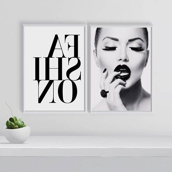Black And White Wall Art Sets Pertaining To Best And Newest Fashion Wall Art Set, Set Of 2 Prints, Black And White Gallery Wall (View 6 of 15)