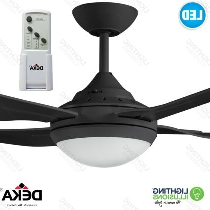 "Black Ingram Deka 52"" 1300Mm Indoor/outdoor Ceiling Fan With 18W Led Inside Preferred Indoor Outdoor Ceiling Fans With Lights And Remote (View 14 of 15)"