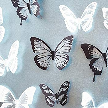 Black & White 18Pcs Diy 3D Butterfly Wall Stickers Art Decal Pvc With Regard To Fashionable Diy 3D Butterfly Wall Art (View 7 of 15)
