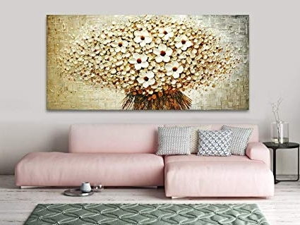 Blossom White 3D Wall Art With Most Recently Released Amazon: Faicai Art Handmade Canvas White Flower Paintings Wall (View 2 of 15)
