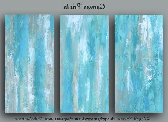 Blue Abstract Wall Art, Large Three Piece Canvas Print Set Triptych Throughout Trendy Blue Abstract Wall Art (View 6 of 15)