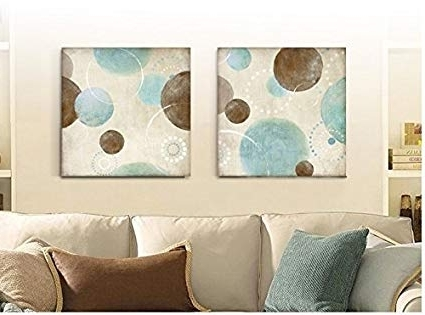 Blue And Brown Abstract Wall Art With Regard To Favorite Amazon: Light Blue, Beige And Brown Circles Modern Abstract Oil (View 12 of 15)