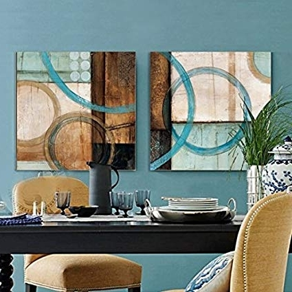 Blue And Brown Abstract Wall Art With Regard To Trendy Amazon: Blue And Brown Circles Modern Abstract Oil Painting (View 15 of 15)