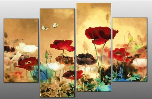 "Blue And Cream Wall Art Inside Famous Extra Large 60"" Multi Field Poppies Flowers Floral 4 Panel Picture (View 12 of 15)"