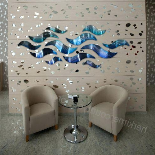 Blue And Silver Wall Art Rip Tide Modern Abstract Large Metal Wall Pertaining To Fashionable Blue And Silver Wall Art (View 10 of 15)