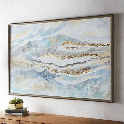 Blue And White Abstract Framed Art Regarding Popular Blue Green Abstract Wall Art (View 15 of 15)