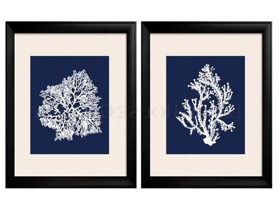 Blue And White Wall Art For Favorite Blue Coral Wall Art Navy Blue Coral Print Navy White Wall (View 3 of 15)