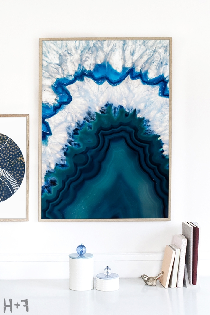 Blue And White Wall Art For Preferred Gorgeous Free Blue Agate Wall Art Print (View 11 of 15)