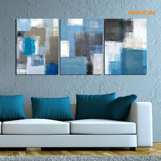 Blue And White Wall Art In Latest Micsunny Abstract Blue White Gray Graffiti Pictures Canvas Prints (View 14 of 15)