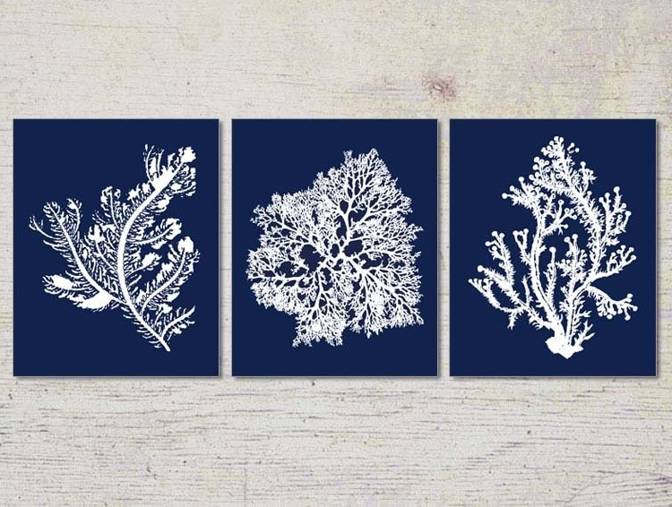 Blue Coral Wall Art Navy Blue Coral Print Navy White Wall, Navy Blue With Fashionable Blue And White Wall Art (View 12 of 15)