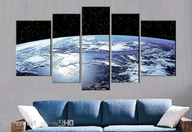 Blue Earth Surface Abstract Oil Painting Canvas Outer Space Handmade Regarding Most Recent Outer Space Wall Art (View 5 of 15)