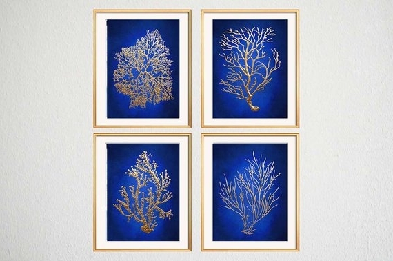 Blue Gold Wall Art Chinoiserie Wall Art Indigo Blue Blue (View 7 of 15)