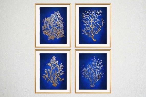 Blue Gold Wall Art Chinoiserie Wall Art Indigo Blue Blue (View 7 of 15)