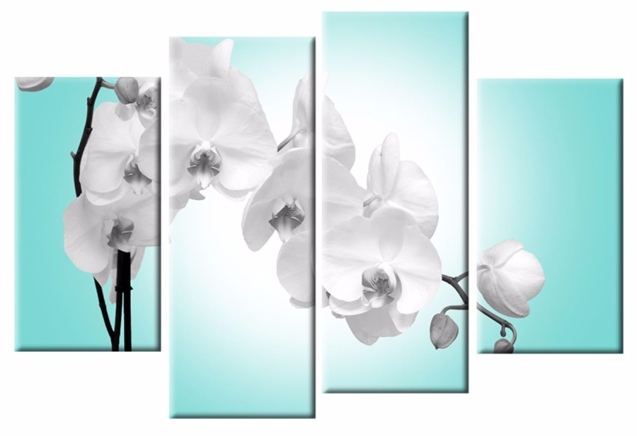 Blue Orchid 4 Panel Canvas Wall Art Print 40 Inch 101 Cm For Famous Duck Egg Blue Wall Art (View 3 of 15)