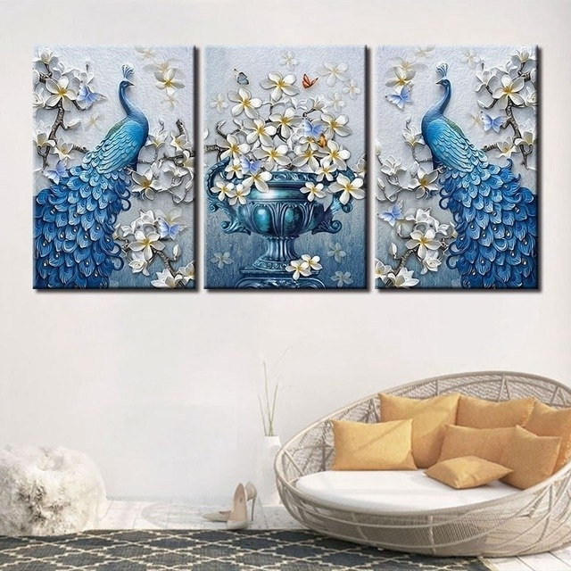 Blue Peacock Picture Hd Print Orchid Flower Butterfly Canvas Wall Within Most Up To Date Butterfly Canvas Wall Art (View 2 of 15)
