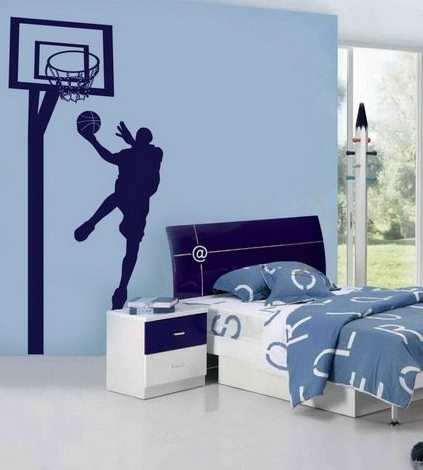 Blue Wall Themes With Nba Basketball Wall Murals For Boys Bedroom In 2017 Nba Wall Murals (View 3 of 15)