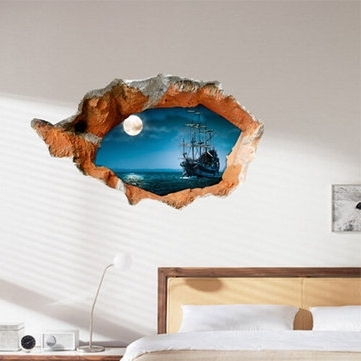 Boat Wall Art For Well Liked 3D Night Boat Wall Decals Wall Hole Wall Art Stickers 38 Inch (View 4 of 15)