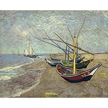 Boat Wall Art Pertaining To Favorite Amazon: Wieco Art Fishing Boats On The Beach At Les Saintes (View 5 of 15)