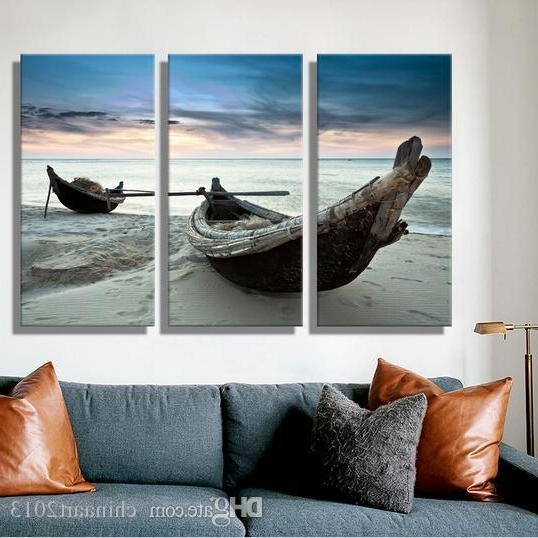 Boat Wall Art Throughout Widely Used 2018 Oil Painting Canvas Beach Landscape Boat Wall Art Decoration (View 6 of 15)