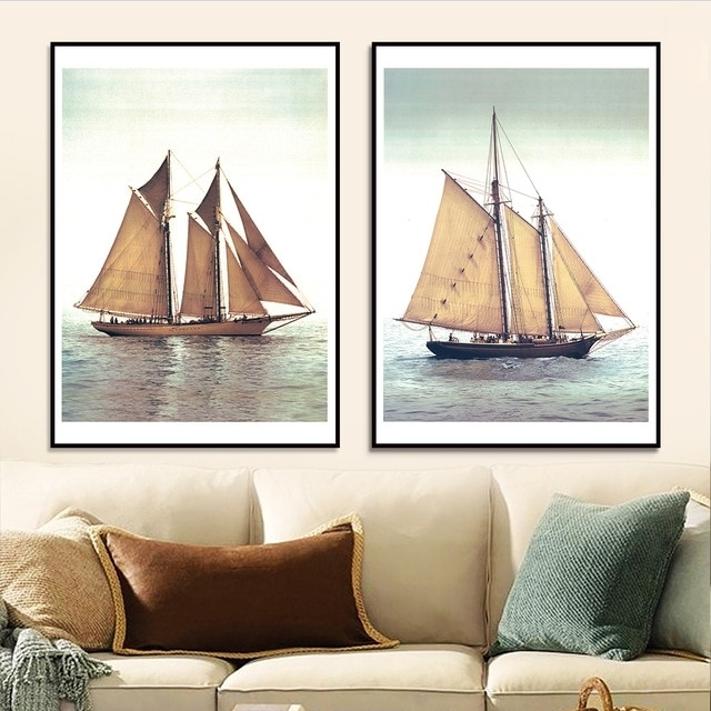 Boat Wall Art With Most Recent Sail Boat Canvas Painting Decorative Wall Art Home Decoration Modern (View 7 of 15)