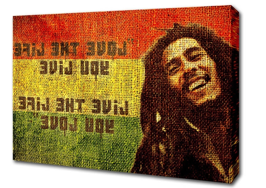 Bob Marley Canvas Wall Art Inside 2017 Bob Marley Love The Life Text Quotes Canvas Stretched Canvas (View 14 of 15)