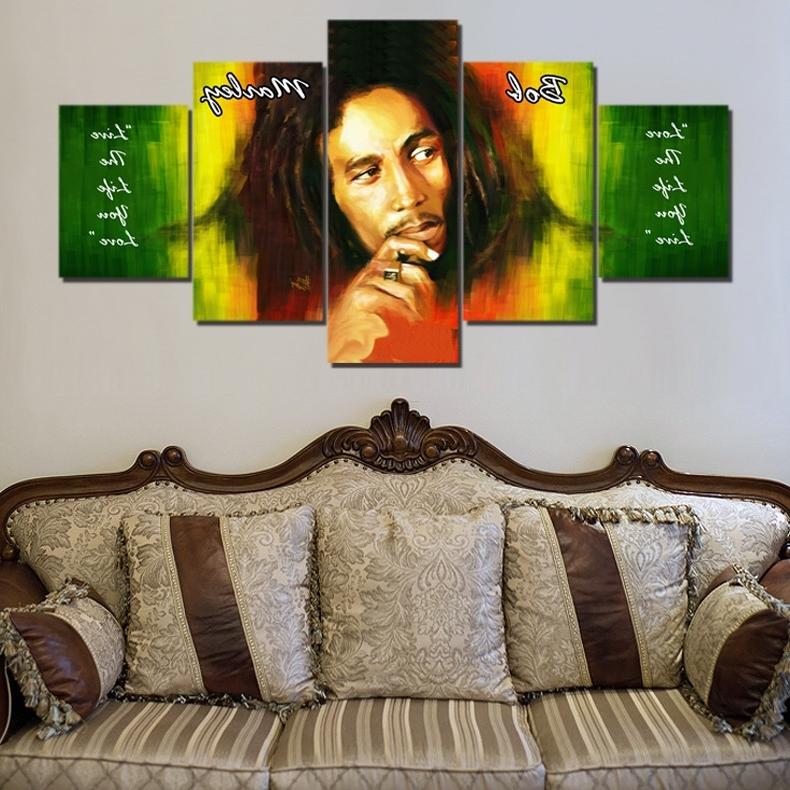 Bob Marley Canvas Wall Art regarding Preferred Bob Marley Hd Canvas Painting Wall Art Game 5 Pieces Prints Home