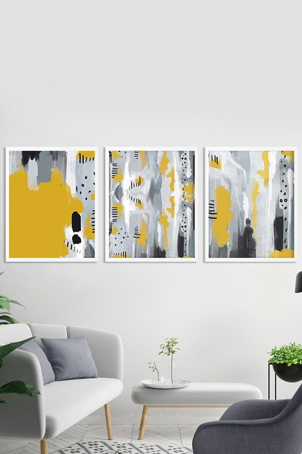 Bold Abstract Wall Art For Favorite Set Of 3 Wall Art Prints, Gallery Wall Grey And Yellow Abstract (View 5 of 15)