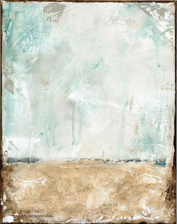 Borderless Brown Blue Abstract Acrylic Painting With 2017 Dwell Abstract Wall Art (View 12 of 15)