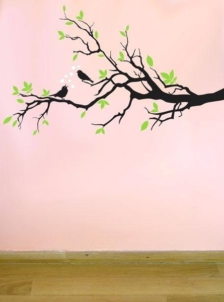 Branch Wall Art Green Leaves Tree Branch Wall Art Decorations Black With Regard To Popular Tree Branch Wall Art (View 14 of 15)
