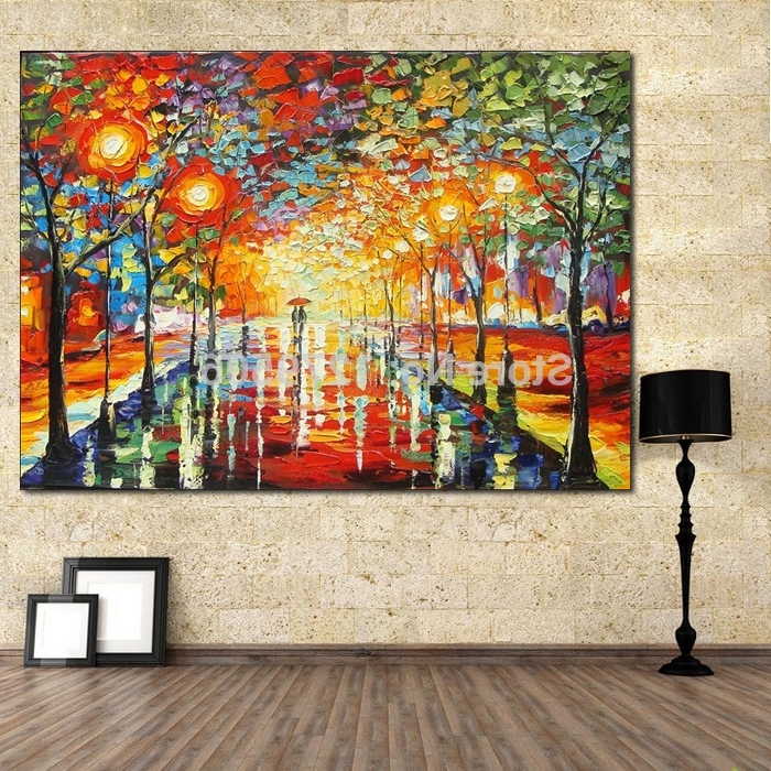 Bright Abstract Wall Art For Well Known Handmade Modern Abstract Decorative Bright Street Picture Oil (View 2 of 15)