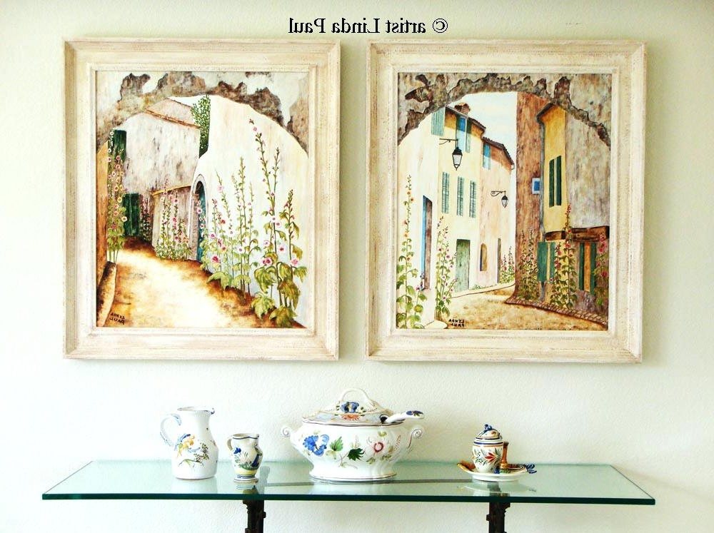 Brilliant French Wall Art On Prints Set Of 2 Country Paintings With Regard To Fashionable Country French Wall Art (View 1 of 15)