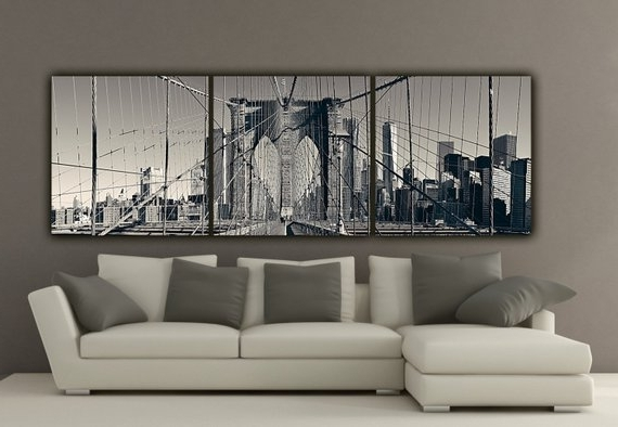 Brooklyn Bridge Wall Decals In Most Recent New York Brooklyn Bridge Canvas Wall Art Black And White New (View 14 of 15)