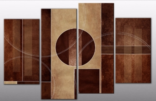 Brown Abstract Wall Art for Widely used Marrone Nero Abstract Canvas Wall Art Print 4 Panel Brown Black 40